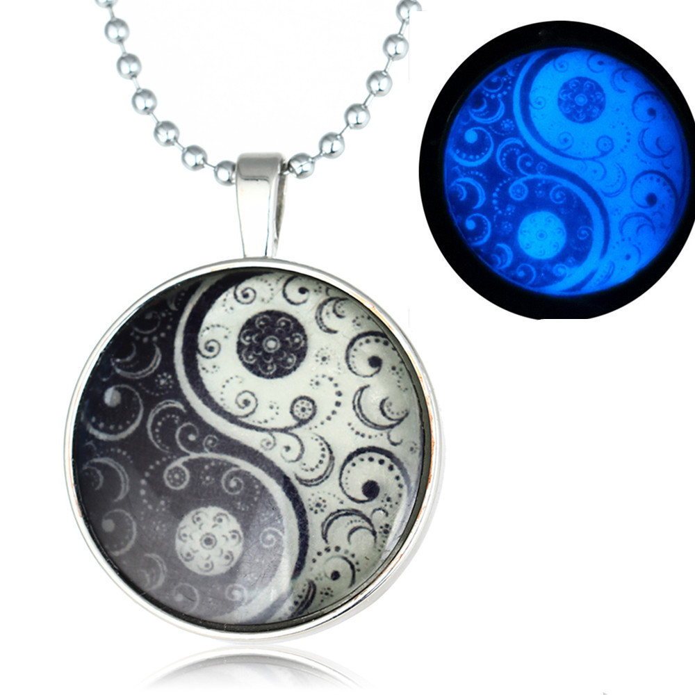 European Noctilucent Tai Chi Time Jewel Necklace Long Bead Chain Accessories Cross Border Goods In Stock CHI094 shouzh jewelry