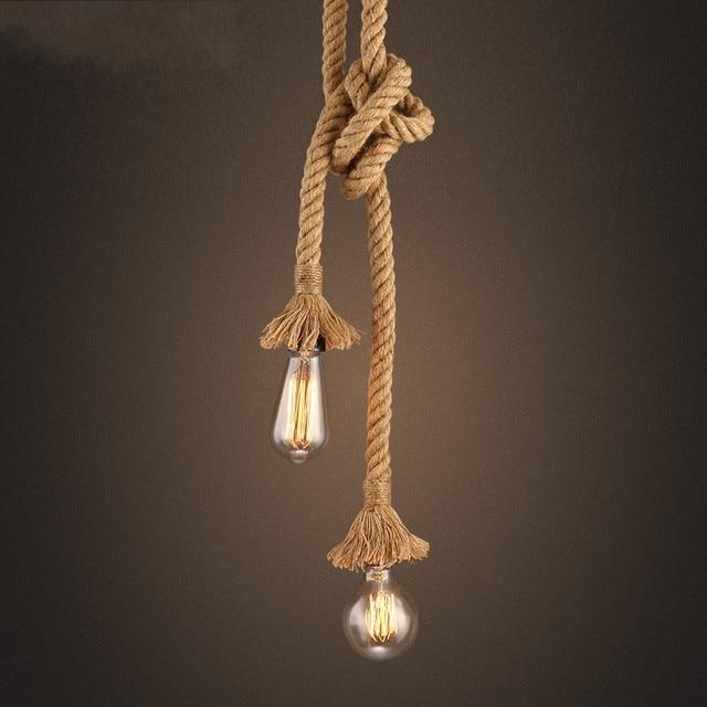 Vintage Retro Creative Rope Pendant Lights Loft Restaurant Bedroom Dining Room Hanging Lamp Hand Knitted
