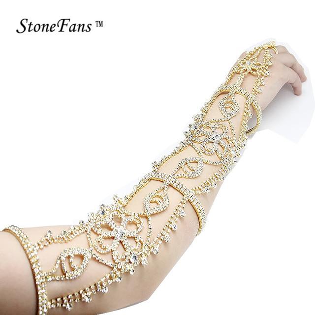 StoneFans Long Rhinestone Bracelet Crystal Upper Armband Armlet Bracelets  Chain Flower Bridal Bracelets Wedding Bangles Women bc6605416cf9