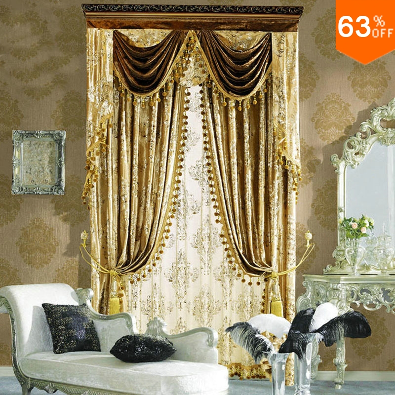 Buy golden flowers press on small fur for Hotel drapes for sale