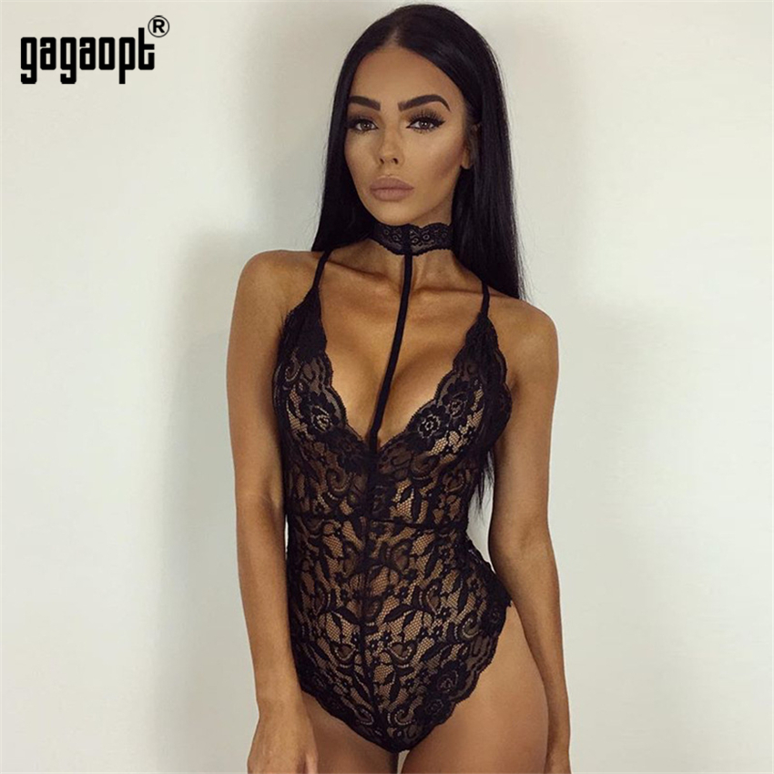 Gagaopt Classic Lace Bodysuit Women Perspective Hollow Out with Choker Bodysuit Romper   Jumpsuit   Sexy Bodysuit