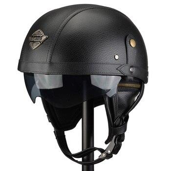 Manual Customization Motorcycle Helmets Motorbike Scooter Half Face Leather Helmet Retro Brown Capacete Casque Moto
