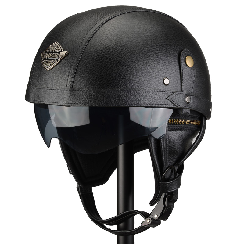 Manual Customization Motorcycle <font><b>Helmets</b></font> Motorbike Scooter Half Face Leather <font><b>Helmet</b></font> Retro Brown Capacete Casque <font><b>Moto</b></font> image