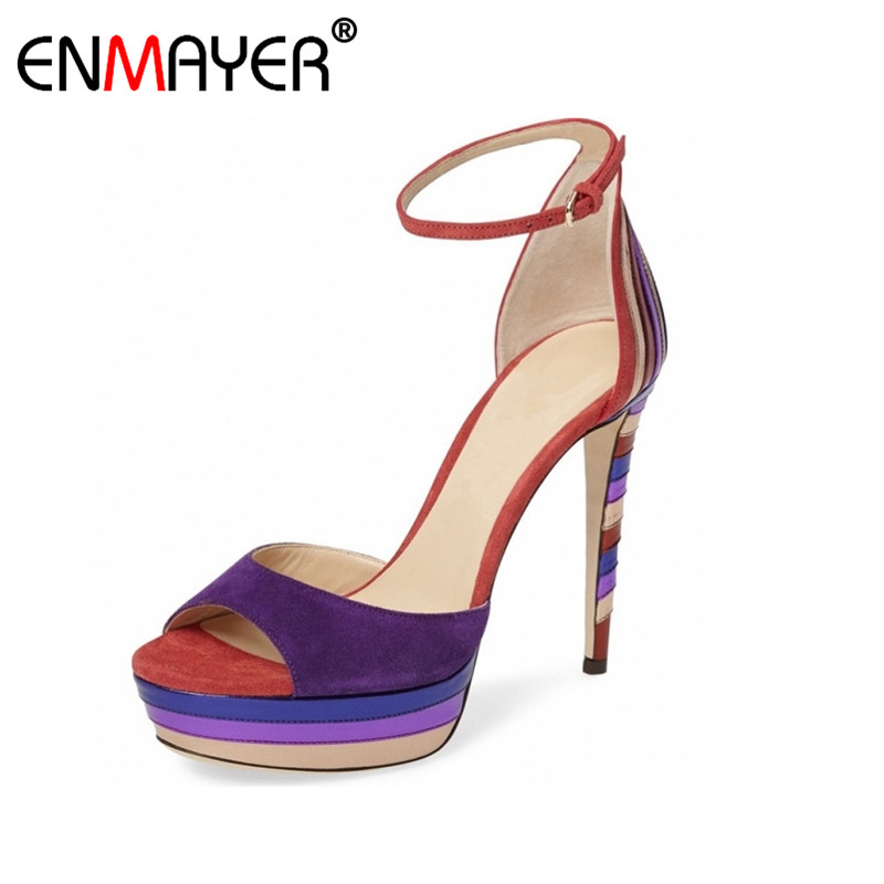 ФОТО ENMAYER Multi Colors Flock Extreme High Heels Sandals Buckle Strap Platform Genuine Leather Party Shoes Hot Summer Women Pumps