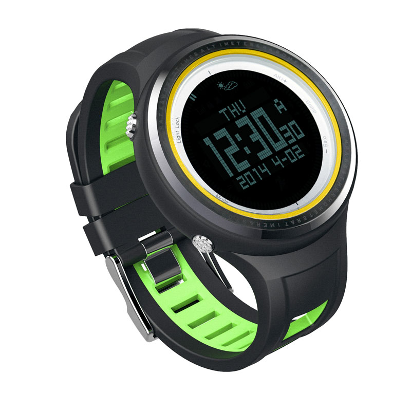 SUNROAD FR800NB Outdoor Sports Watch Men-Stopwatch Digital Altimeter Barometer Compass Pedometer Watches  Clock Men (Yellow) sunroad fr800nb sports watch men waterproof digital altimeter barometer compass watches pedometer men watch style clock green