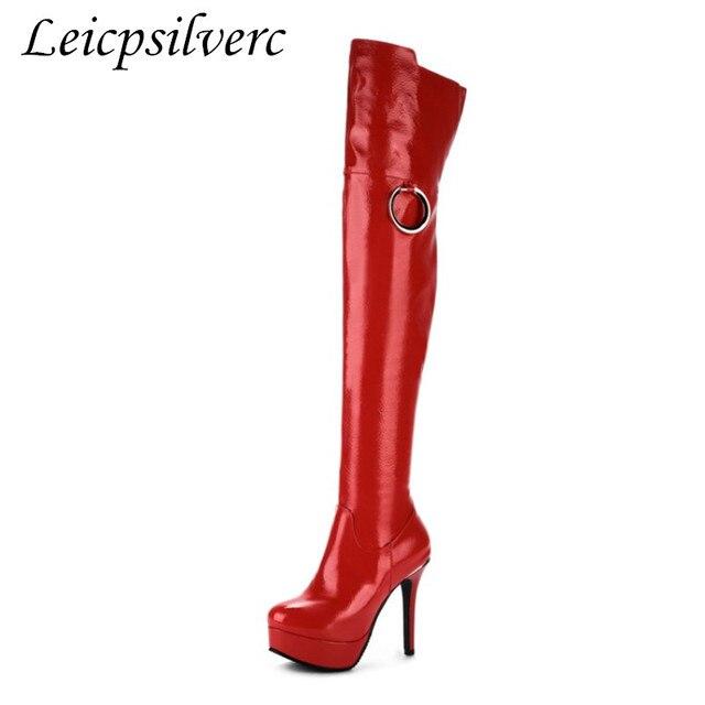 Avrupa ve Amerika büyük kod 34-48 süper yüksek topuklu ve su geçirmez masa lak cilt diz botları, tüp dans, seksi bayan Botları