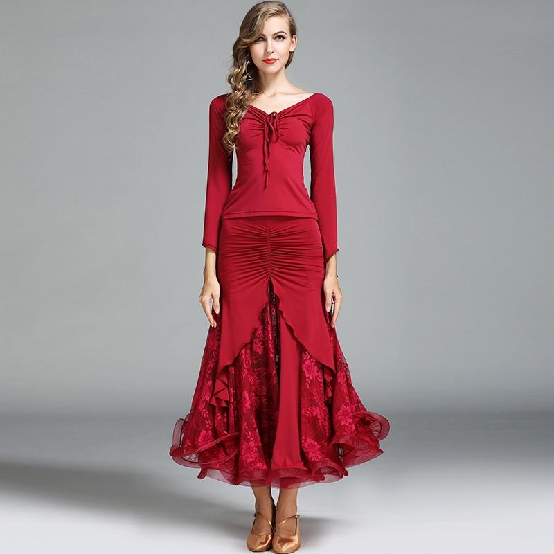 ballroom dance clothes set skirt+top lace lotus skirt hem ruffle top collar Waltz clothes ruffle hem lace skirt