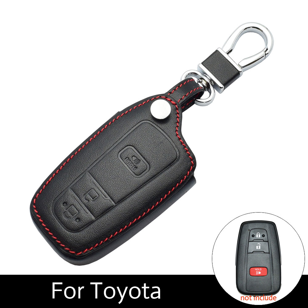 Prius 2016 2017 2018 Exquisite Traditional Embroidery Art Dashing Atobabi Real Leather Car Key Case 2+1 Buttons Smart Remote Fobs Shell Cover Keychain For Toyota Chr C-hr Interior Accessories