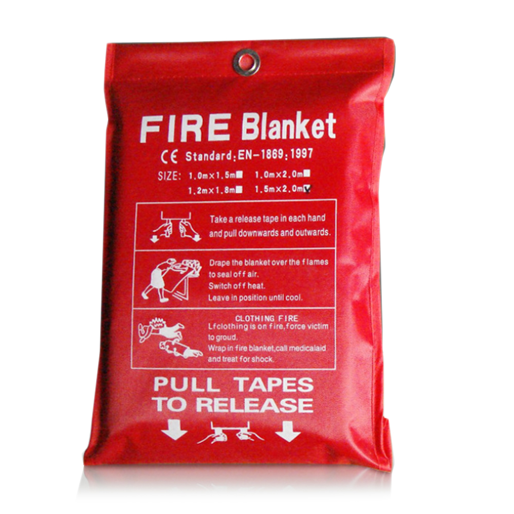 1M X 1M Fire Blanket Fiberglass Fire Flame Retardant Emergency Survival White Fire Shelter Safety Cover Fire Emergency Blanket