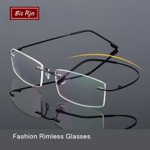 Rimless Eyeglasses Folding Optical Glasses Frame Man Square Computer Lightweight Memory Titanium Spectacle Woman Z858