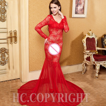 36db9c980c Sexy Women s Lace Mermaid Backless Dress See Through Lace Sheer Gowns Robe  Long Sleeve Exotic Dresses