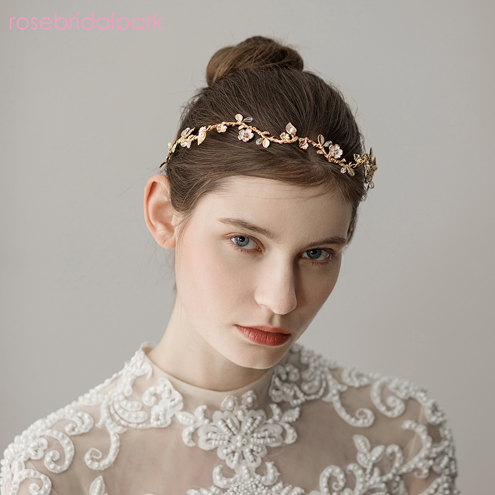 us $12.25 43% off|rosebridalpark wedding bride hairband hair accessories tiaras floral leaf ornaments headpieces for women bridal headbands b125-in