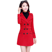 WMWMNU Coat Female 2017 Spring And Autumn Fashion Solid Color Women Coat Long Sleeve Elegant And Warm Women's Wool Coats Slim
