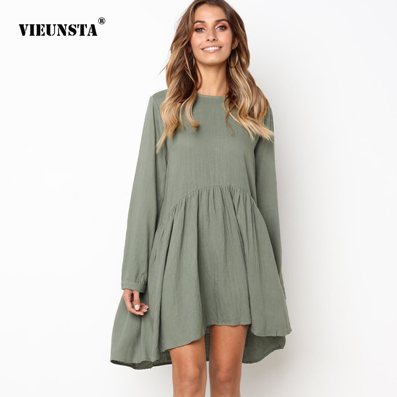 VIEUNSTA 2018 New Lantern Sleeve Autumn Pleated Dress O-neck Solid Botton Loose Dresses Elegant Party A-line Mini Dress Vestidos