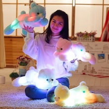 Lovely Luminous Stuffed Bear Toy LED Light Up Plush Doll Glow Teddy With Tie Pillow Auto