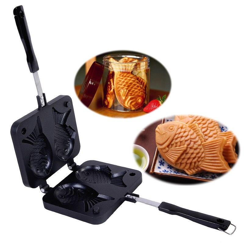 Free Shipping Taiyaki Japanese Fish Shaped Bakeware Waffle Pan Maker 2 Cast Home Cake Tools