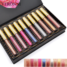 VERONNI 10pcs/lot Diamond Lip Gloss Set Glitter Liquid lipstick Makeup Metalic Shimmer Shine Luminous Pigment Lasting Waterproof