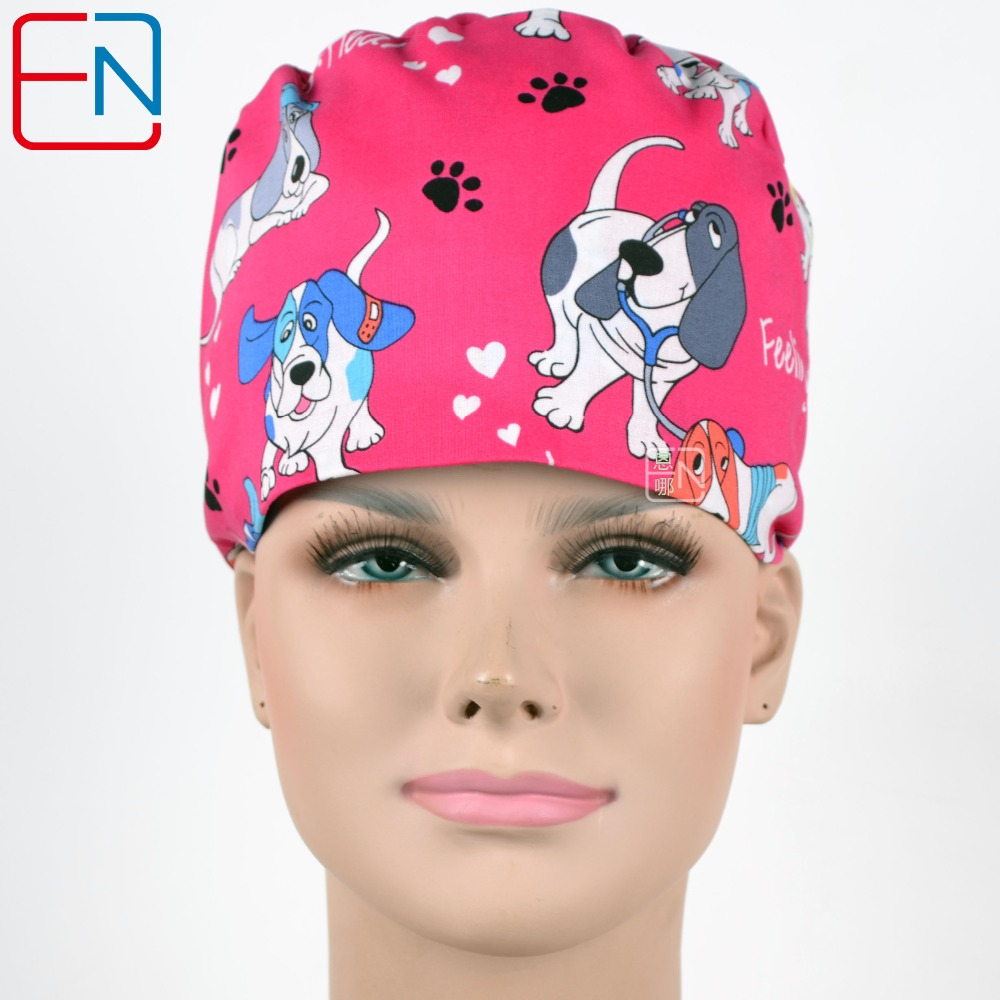 New Cotton Scrub Caps Mask  Hospital Medical Hats Cartoon Print Tieback Adjustable Cotton Unisex Section Surgical Caps Masks