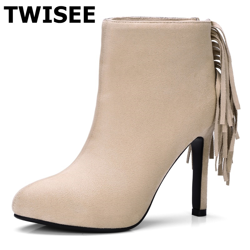 TWISEEblack red brown Winter Women Round Toe Ankle Boots Platform Martin Booties High Heels zip Shoes Double Fringe Size33-43 twiseeblack red brown winter women round toe ankle boots platform martin booties high heels zip shoes double fringe size33 43