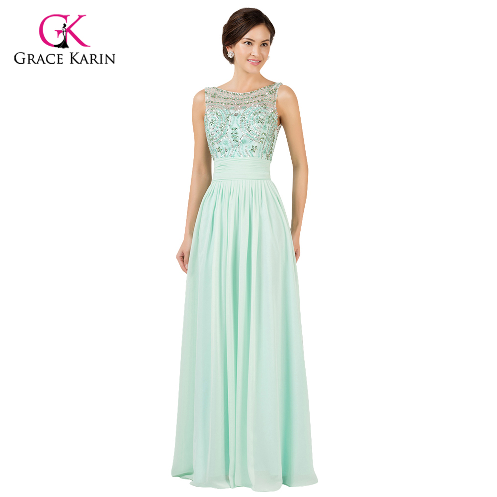 Princess Grace Karin Beads Chiffon Mint Green Long Evening dresses ...