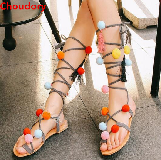 Greek Colorful Balls Decorated Lace Up Sandals Tassels Cross-tied Women Gladiator  Sandals Flats Summer Sandal Boots 3 Colors