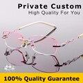 Óculos de marca Mulheres 2016 Oco Out Designer Frame Miopia Óculos Sem Aro de Diamantes de Alta Qualidade Lady Computer Eye glasses 617