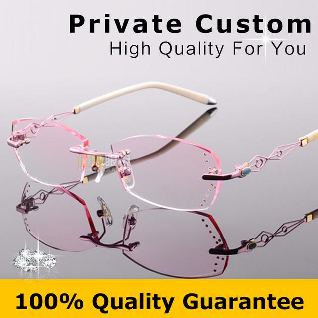 Gafas de marca Mujer 2016 Ahueca Hacia Fuera el Diseñador Marco Miopía Gafas Sin Montura de Diamantes de Alta Calidad Señora gafas de Ordenador 617