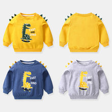 Get more info on the Baby Boy Long Sleeve Tops Sweatshirt Dinosaur Clothes Toddler Boy Dinosaur Sweatshirt T shirt Dinosaur for Kids Navy Yellow Gray