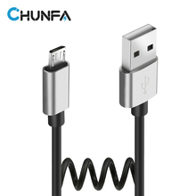 Micro USB Cable Mobile Phone Fast Charge Cables for Huawei Retractable Data Sync Wire for Xiaomi Android Car USB Spring Cable