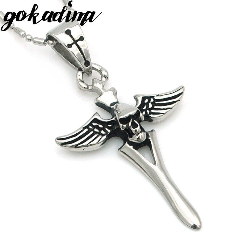 Gokadima Wing Skull Sword Pendant Necklace Chain Stainless S