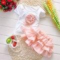 Летние дети популярные футболка + юбка балетной пачки набор 2 шт. дети с коротким рукавом цветок одежды костюм
