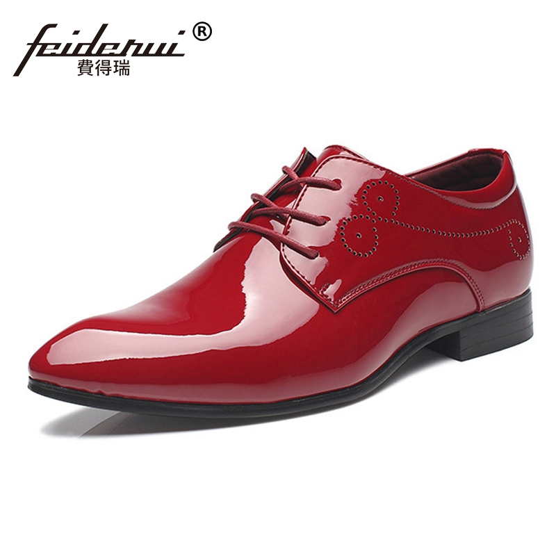Big Size 38-48 Classic Patent Leather Mens Wedding Footwear Pointed Toe Lace up Carved Formal Dress Man Derby Party Shoes CMS76Big Size 38-48 Classic Patent Leather Mens Wedding Footwear Pointed Toe Lace up Carved Formal Dress Man Derby Party Shoes CMS76