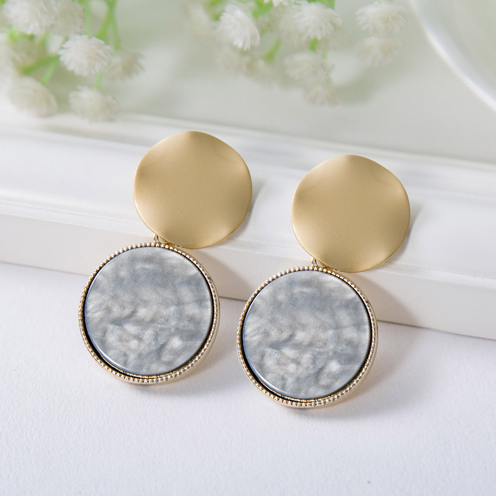 Smooth Metal Wavy Round Stud Earrings Gold 2019 Circular Acrylic Drop Earrings for Women Fashion Jewelry in Drop Earrings from Jewelry Accessories