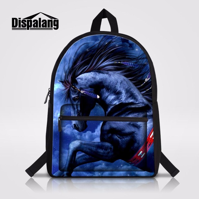Dispalang Crazy Horse 3D Prints Backpack Customized Bagpack With Water Holder High Quality School Book Bags For Laptop Mochila