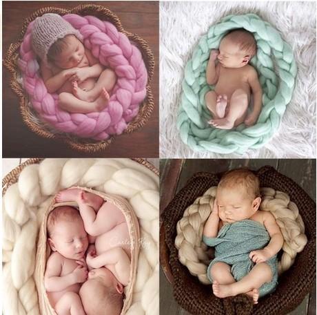 Bebé recién nacido Apoyos de La Fotografía de Fondo de la Foto Del Bebé Manta de lana Giro trenza Cesta Embutidora manta infantil