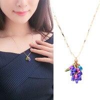 Les Nereides women elegant plant series Enamel glaze women Blue Purple Fruit Pendant necklace