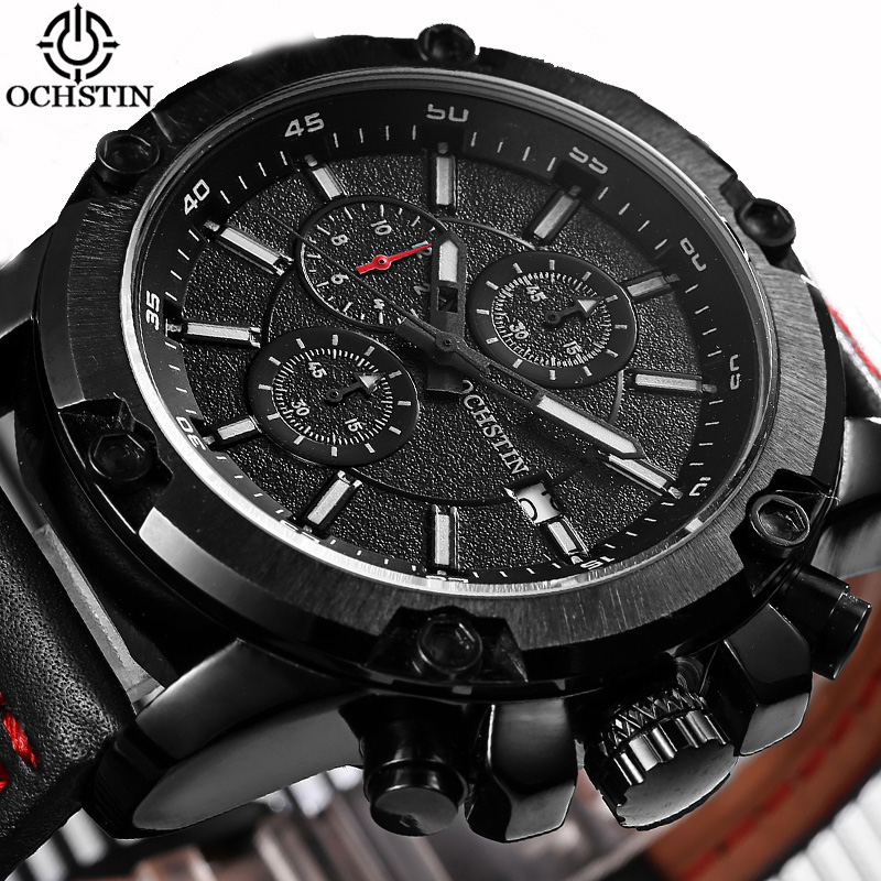 Men Watch OCHSTIN Top Luxury Brand Designer Military Quartz-watch Leather Business Black Sport Quartz Watch Male Wristwatch watch men ochstin top luxury brand designer military quartz watch silicone business black sport quartz watch male wristwatch