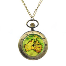 Vintage Bronze Steampunk Roman Numbers Flip Quartz Pocket Watch Map Glass Women Men Watch Pendant Necklace Chain Clock