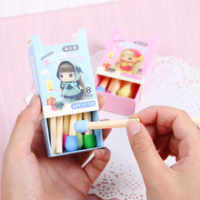 8 PCS/pack Cute Kawaii Matches Eraser Lovely Colored Eraser for Kids Students Kids Creative Item Gift(China)