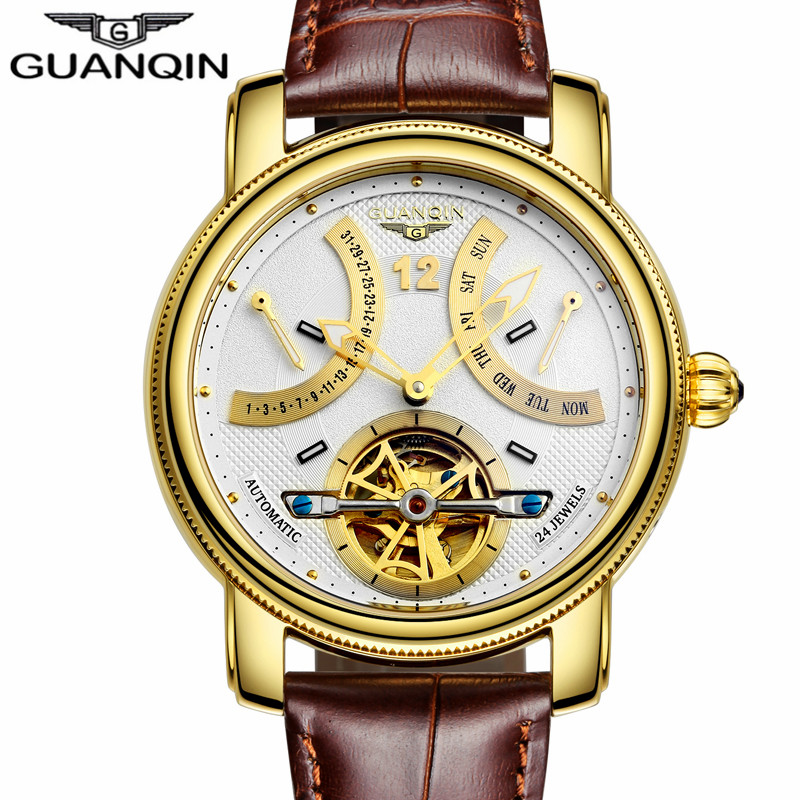 Mens Watches Luxury Brand GUANQIN Automatic Mechanical Watches Men Waterproof Luminous Tourbillon Watch Calendar Leather Watches