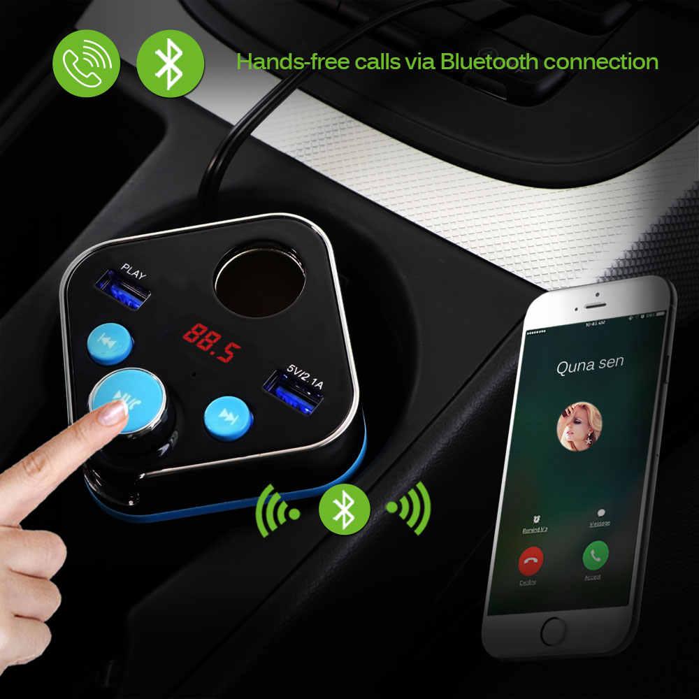 Onever Bluetooth Kit de coche manos libres transmisor FM MP3 reproductor de música 5 V 4.1A Dual USB cargador de coche para xiaomi roidmi 2 s