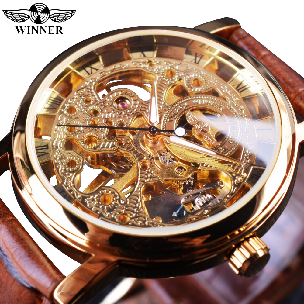 Zwycięzca Przezroczyste Złote etui Luxury Casual Design Brązowy skórzany pasek Męskie Zegarki Top Brand Luxury Mechanical Skeleton Watch