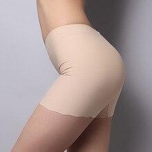 Новинка, летние женские бесшовные безопасные штаны размера плюс, шелковые шорты для мальчиков, боксеры, женские трусы, трусы, нижнее белье