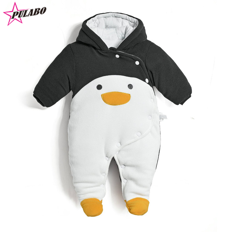New fashion fall winter warm romper newborn baby boy girl clothes bebes cartoon penguin thick cotton jumpsuits infant overall