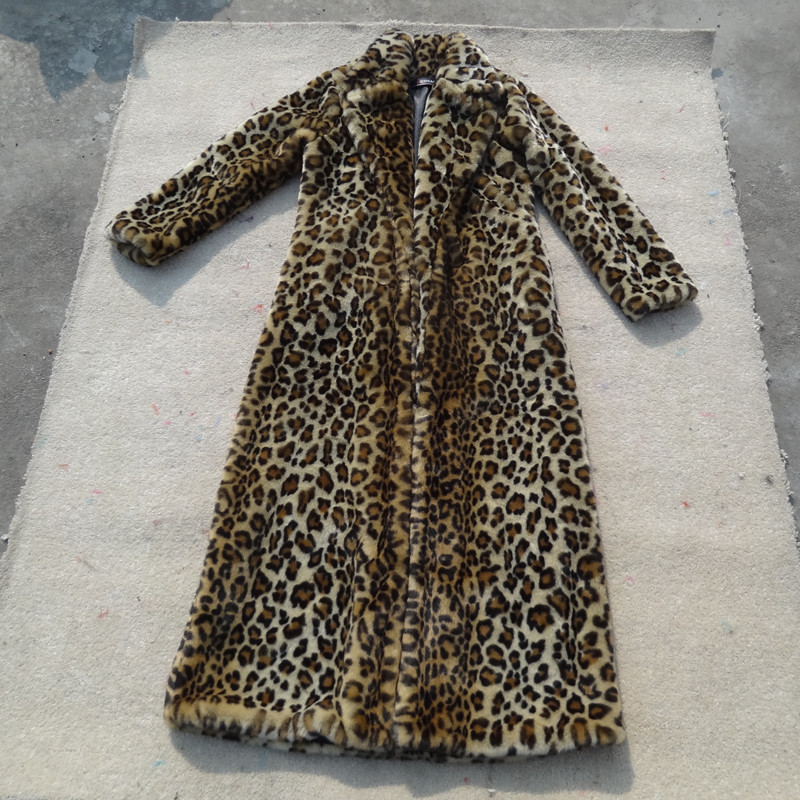 2017 Fall winter full length long leopard print faux fur coat for women ,Luxuriously Plush,woman's coats with fake fur