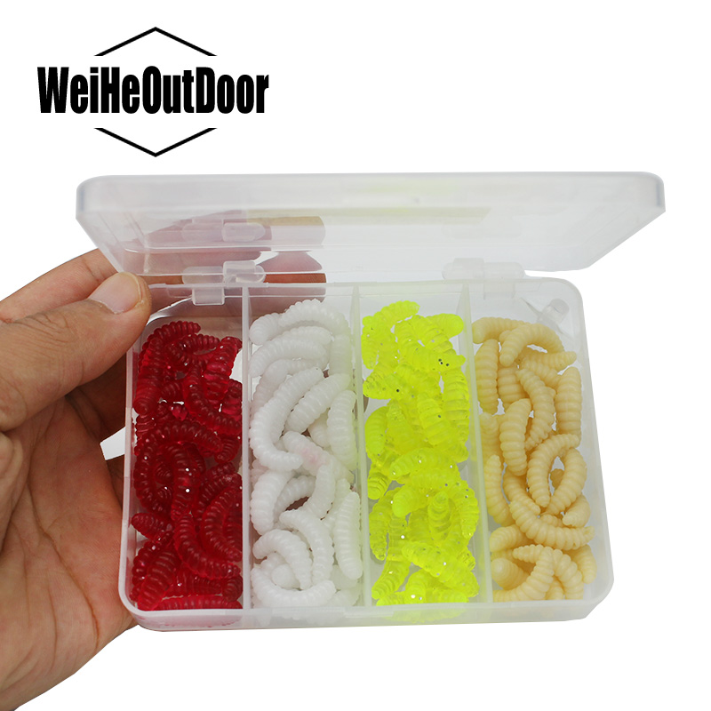 100Pcs Carp bait Fishing Lures Maggot Grub Soft Baits Silicone Soft Lure Sets Bass Baits Worm Maggot Fly Peche Tackle Pesca 1set 10pcs soft silicone fishing lure bait freshwater saltwater