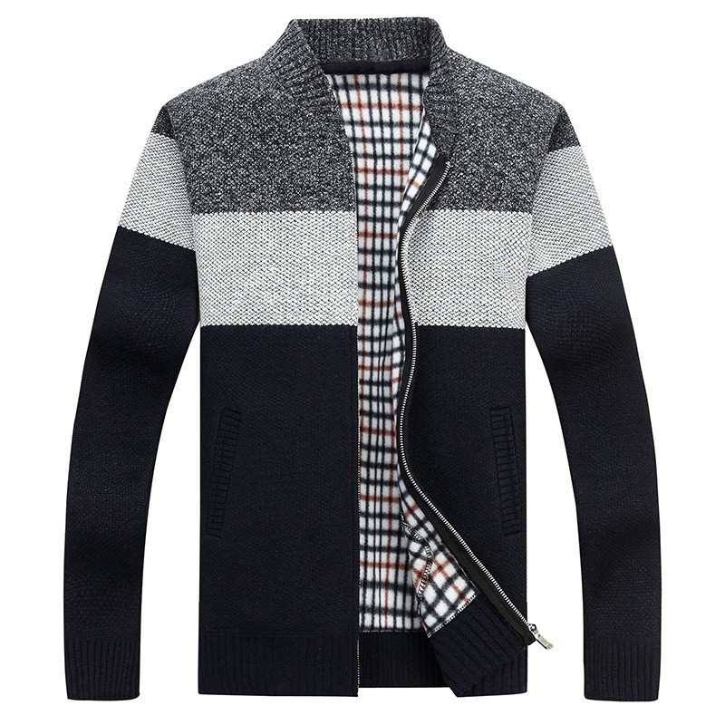Zogaa 2019 Autumn Men Thick Sweatercoat Striped Stand Collar Zipper Sweater Coat Outerwear Winter Fleece Cashmere Liner Sweaters