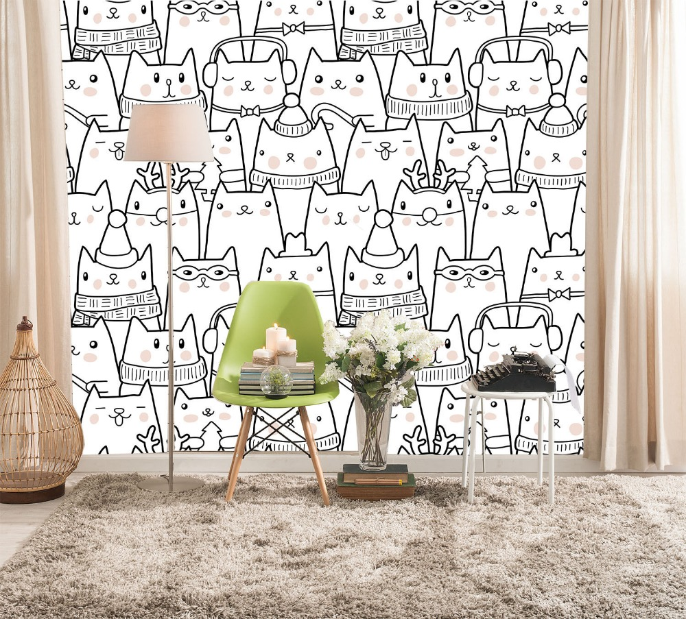 [Self-Adhesive] 3D White Cat Cartoon 198 Wall Paper Mural Wall Print Decal Wall Murals