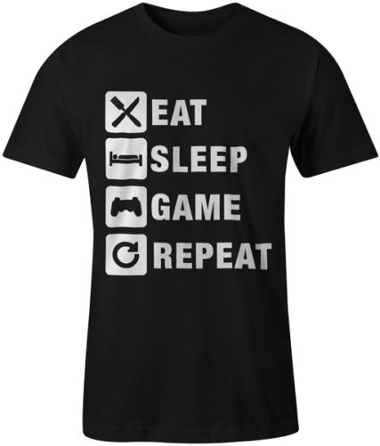 Eat Sleep Game Repeat Gaming Gamer tee Men casual 100% Cotton Personalized tee USA Size S-3XL Short Sleeve