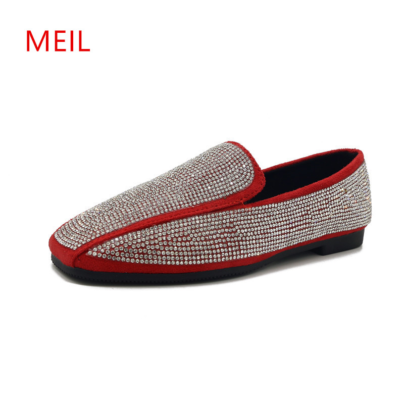 Summer Red Loafers Ladies Flat Shoes Women Mules Rhinestone Bling Footwear Woman Female Nurse Flats Slip on Shoes for Women 2018 women summer slip on breathable flat shoes leisure female footwear fashion ladies canvas shoes women casual shoes hld919